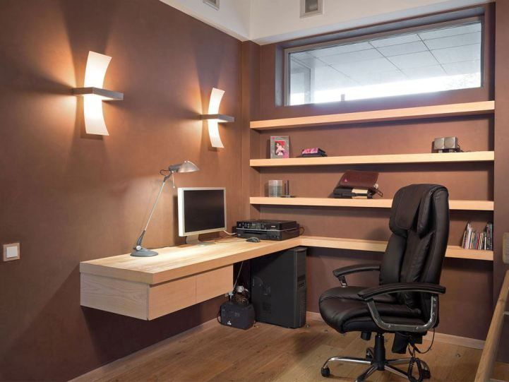 20 inspiring design layout and decorations for home office minimalist small home office design ideas with wall mounted wood shelves and office desk plus