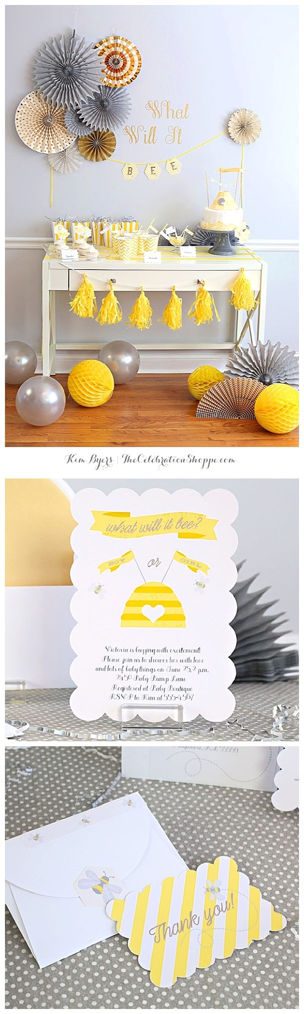 "Darling ""What Will It Bee"" gender reveal baby shower Ideas - Sweet little Bee themed DIY party invitations and Thank You Cards Paper Crafts 