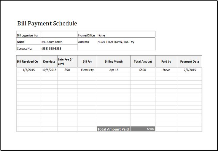 Bill payment schedule template at http\/\/wwwxltemplatesorg\/bill - electrician invoice template