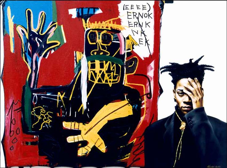"Jean Michele Basquiat was a street artist discovered by Andy Warhol.  If you haven't seen the movie by Julian Schnable, I highly recommend it.  David Bowie plays Warhol, it's a trip.  The ""art"" was actually done by Schnable since they weren't allowed to use Basquiat's originals."