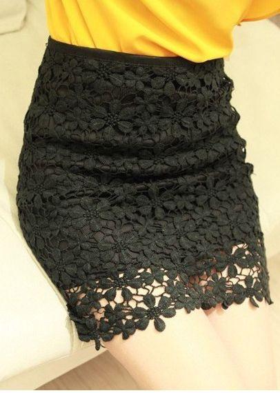 High Waisted Black Lace Mini Skirt