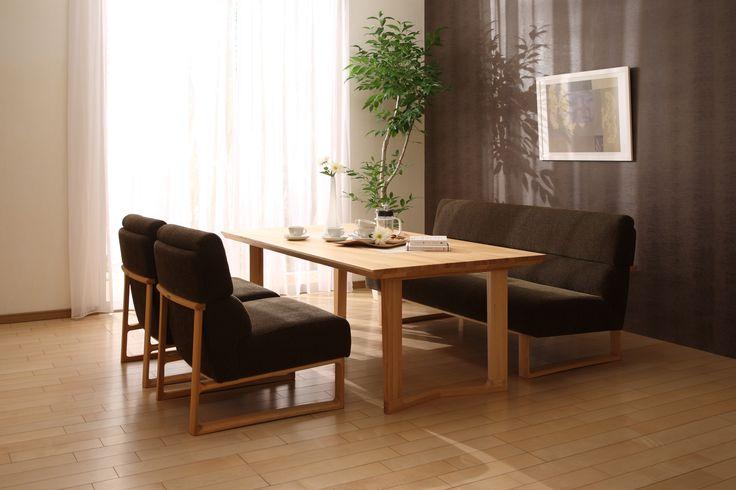 ダイニングチェアー+ソファーの新提案。食後もゆったりとくつろげる座高40センチのリビング・ダイニング兼用型です。スペースを有効に活用でき、マンションライフにもおすすめです。(テーブルは高さ62センチ程度がおすすめです。)