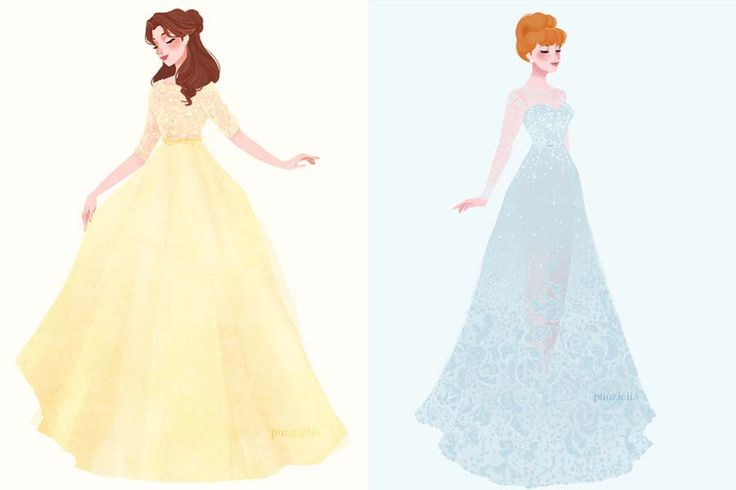 Princesas Disney com vestidos de estilistas famosos
