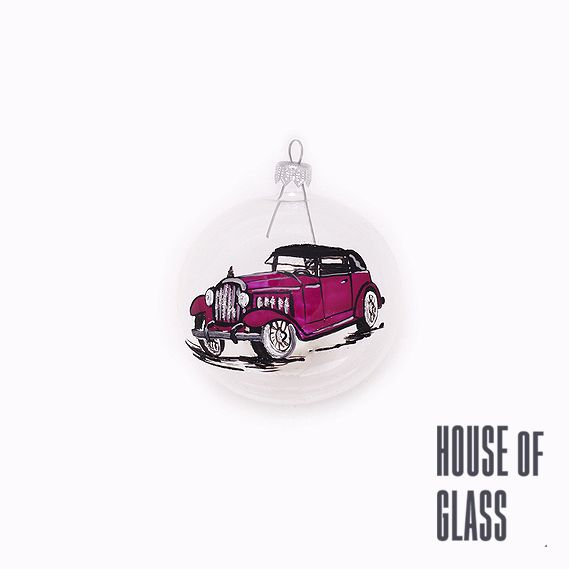 hand painted bauble with old car | Christmas decorations