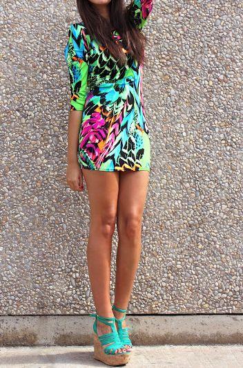 love the colors. love the dress. love the heels. #turquoise #neongreen: Summer Dresses, Color Fashion, Prints Dresses, Dresses Style, Dreams Closet, Bright Color, Style Inspiration, The Dresses, Neon Color