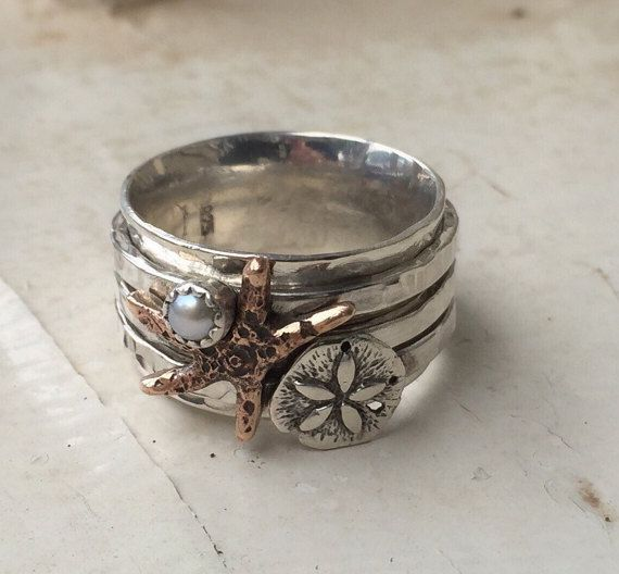 Sterling Silver Beach Spinner Ring Ocean Sand by ShesSoWitte