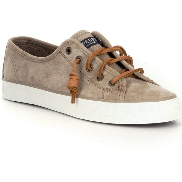 Sperry Seacoast Washable Leather Sneakers ($85) ❤ liked on Polyvore featuring shoes, sneakers, real leather shoes, sperry, leather shoes, leather footwear and genuine leather shoes