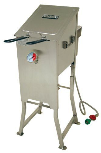 This 4-gallon Bayou Fryer is the ultimate in outdoor cooking. Perfect for backyard parties with family and friends. Fry fish, chicken, hushpuppies, and fries. The unique V-bottom design keeps base oil temperature cooler than frying temperature so the batter does not burn and your cooking oil... more details available at https://www.kitchen-dining.com/blog/grills-outdoor-cooking/outdoor-fryers-smokers/product-review-for-bayou-classic-700-701-4-gallon-bayou-fryer-stainless-stee