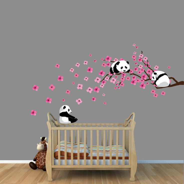 Panda cherry tree decals pink cherry blossoms branch for Baby girl nursery mural