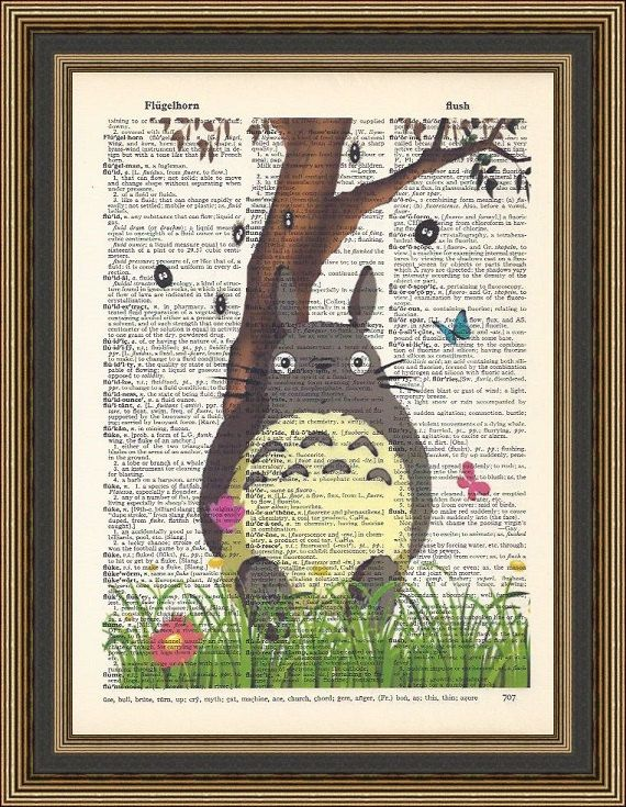 Totoro sitting under a tree illustration printed on a vintage dictionary page. Playroom poster, Nursery Print, My neighbor totoro poster.