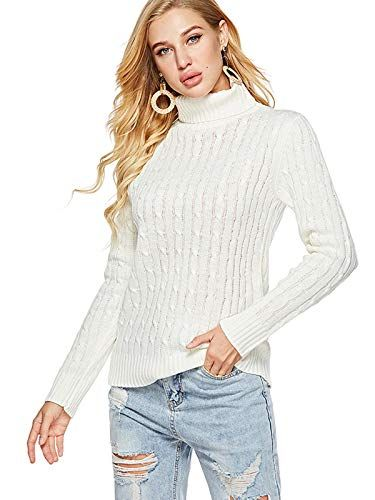 d495320ccced4 Xsayjia Women Knitwear Jumpers Turtleneck Sweater Slim Long Sleeve Light  Color Solid Top White