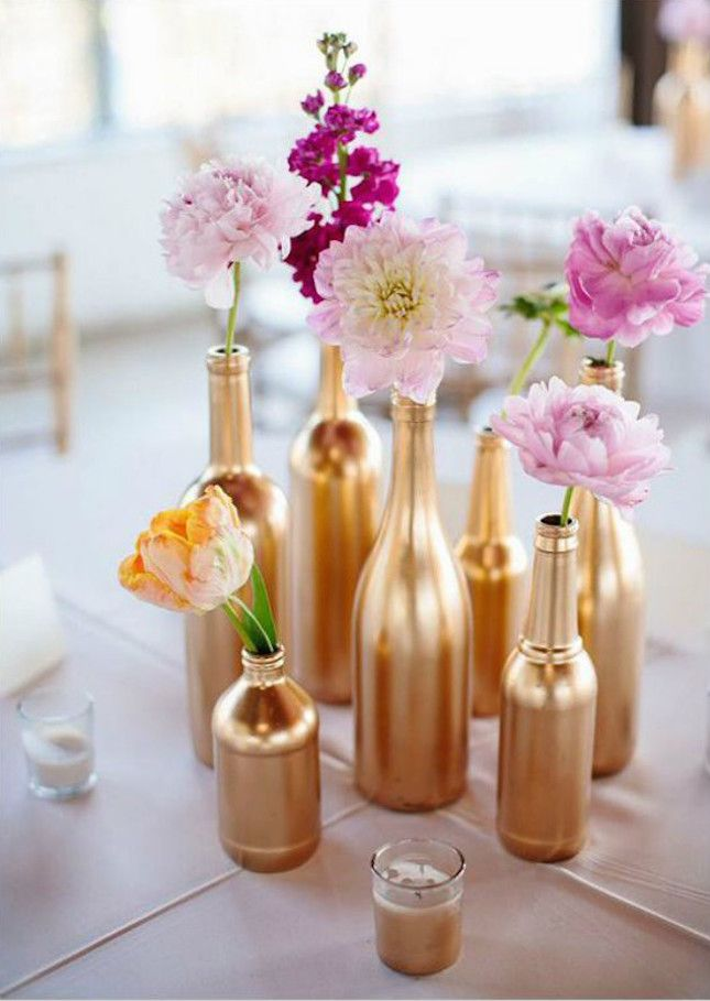 Give your bridal shower some glam-biance with gold painted bottles.