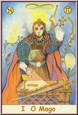 1. O Mago, no Tarot Namur, desenhado por Martha Leyrós
