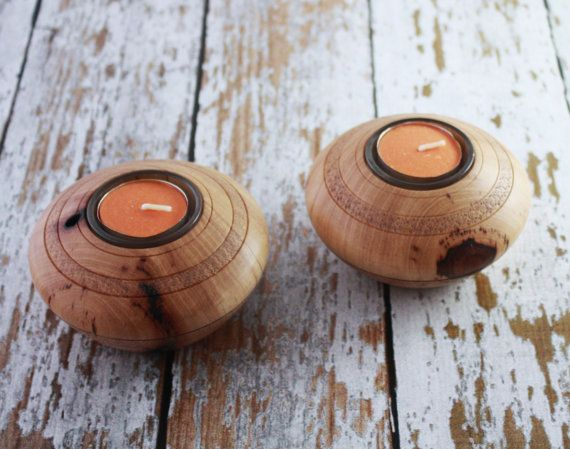Wooden Pecan Tea Light Holder  Set of two