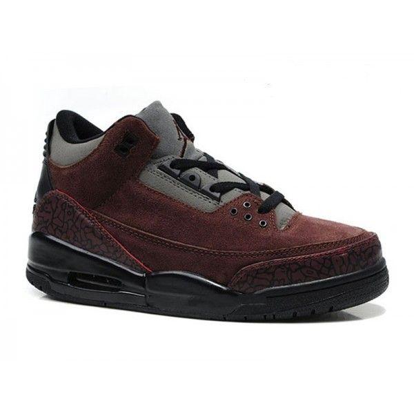 Air Jordan 3 Retro - Basket Jordan Anti-Fourrure Chaussures Pas Cher Pour Homme Brun Ballerines Pas Cher
