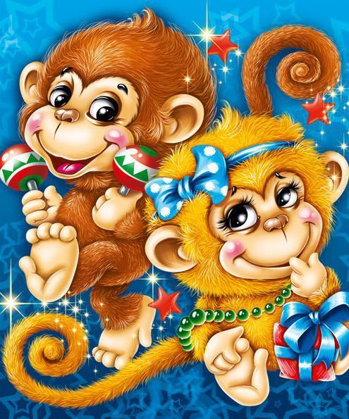 Открытки обезьянами
