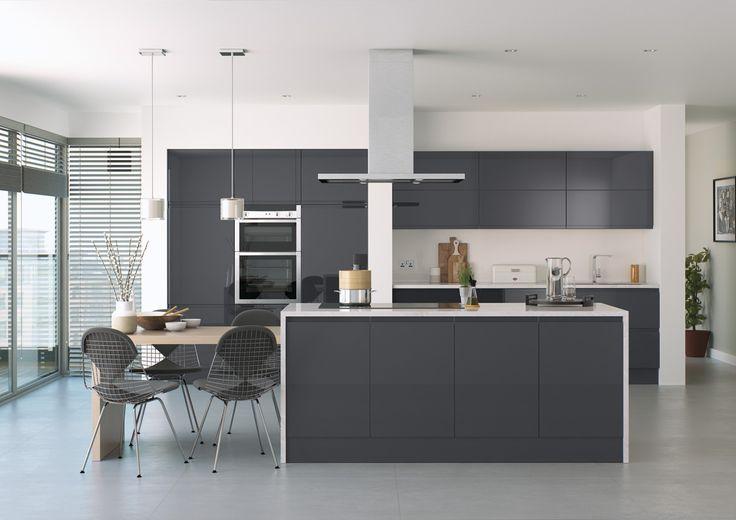 High Gloss Anthracite Handleless Kitchen Units | Anthracite Gloss Kitchen