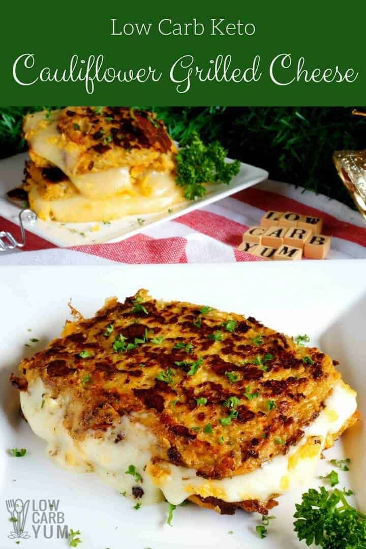 Cauliflower Low Carb Keto Grilled Cheese Sandwiches Riced