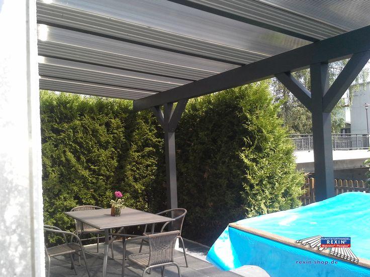Cute Alu Terrassendach der Marke REXOclassic x m in anthrazit mit Stegplatten in