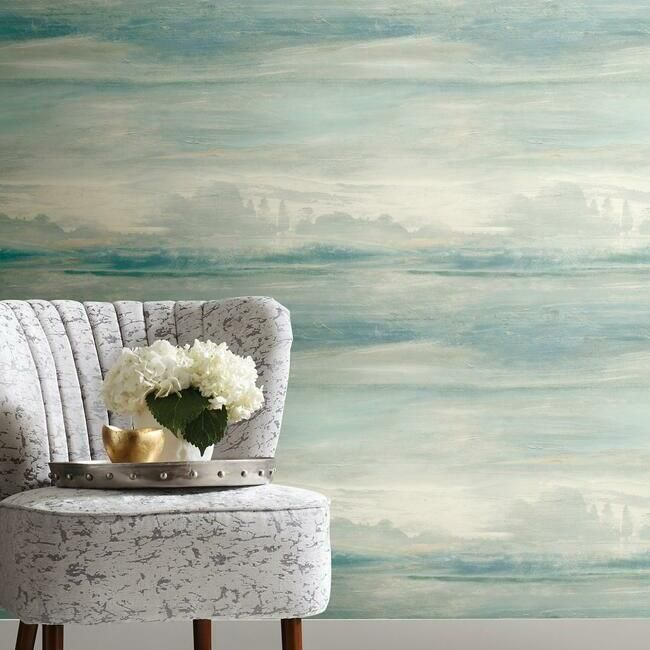 Soothing Mists Scenic Peel Stick Wallpaper In Blue By York Wallcover Scenic Wallpaper Peel And Stick Wallpaper Coastal Wallpaper