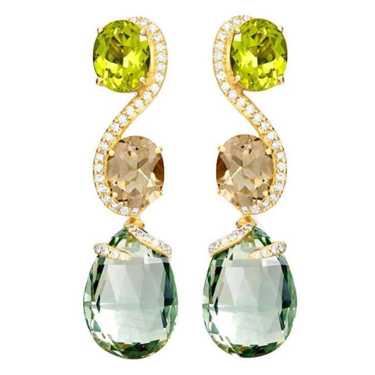 Shanghai Peridot Smoky Quartz Prasiolite Diamond Gold Earrings 1 #GoldEarrings