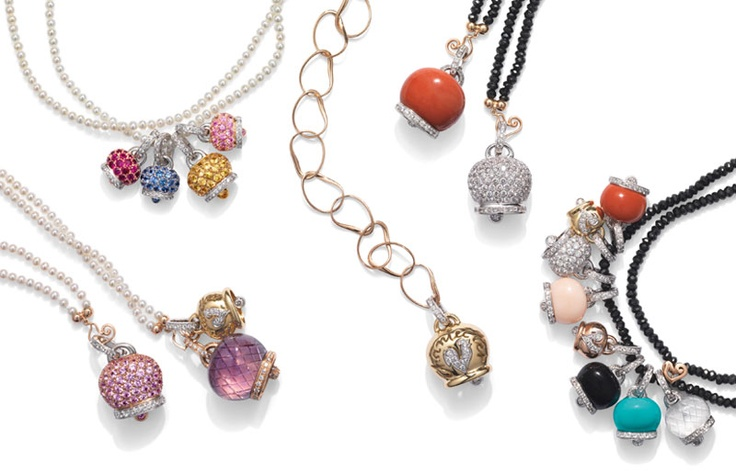 """Chantecler's bells are the most popular object in the world. From simple """"port-bonheur"""" become precious object to wear that tinkled on Grace Kelly and Jacqueline Kennedy' s necks. Just a breath of air makes the bells loud with their marvellouse voice. #Chantecler #bells #Bologna #jewels #jewelery #campanelle #gioielli #viaRizzoli"""