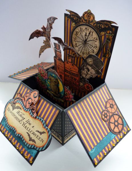 Steampunk Spells Pop Up Box Card by Karen Foy! Amazing! #graphic45 #cards #halloween