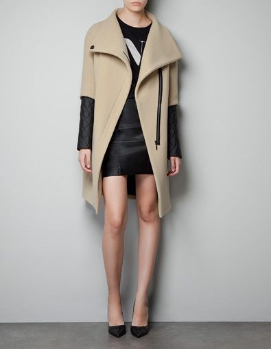 COAT WITH QUILTED FAUX LEATHER SLEEVES - Coats - Woman - ZARA