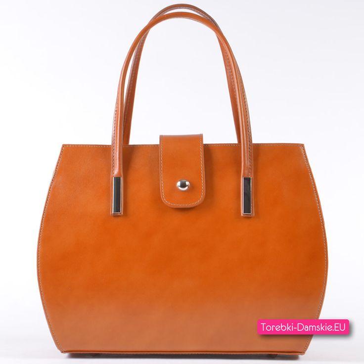 Skórzana włoska torebka w kolorze jasny brąz - karmel / rudy. Kliknij i zobacz wszystkie zdjęcia http://torebki-damskie.eu/skorzane/1651-jasnobrazowa-ruda-karmelowa-torebka-skorzana.html