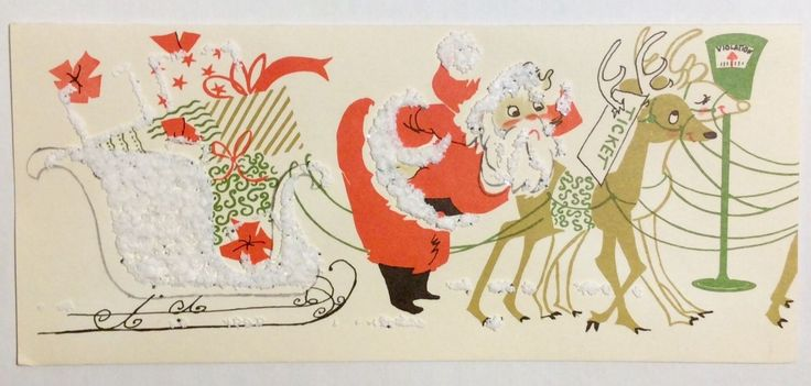 Santa's Reindeer gets Parking Ticket Meter 50's Vintage Christmas Greeting Card FOR SALE • $6.00 • See Photos! Money Back Guarantee. Vintage Christmas Card Circa 1940's ~ Hawthorne Sommerfield Santa is puzzled that his reindeer has a parking ticket on its antlersVintage Christmas Card Card is in excellent, used vintage conditionNo 252952067224
