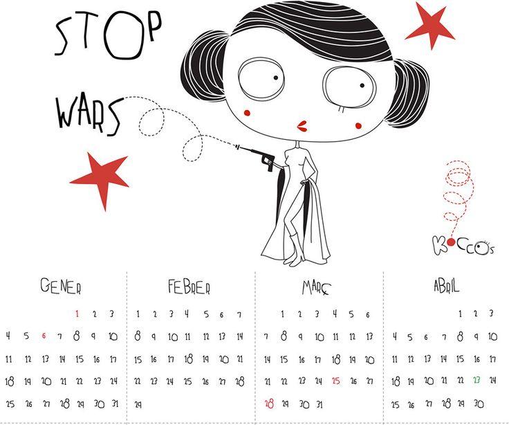2016 Calendar | Printable Calendar, Star Wars Calendar, Stop Wars Calendar, Year Printable Calendar, Portrait Calendar, Instant Download by KoCcos on Etsy