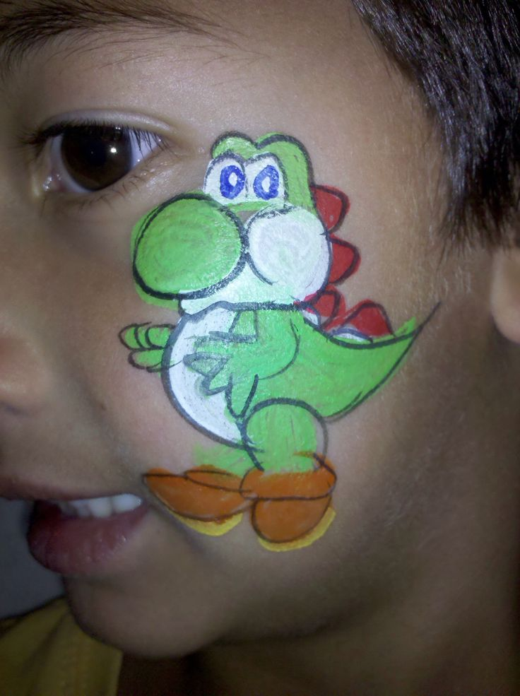 Yoshi Or Small Dinosaur Face Paint Design Face Paint Done By The Pro-painters At Party All The ...