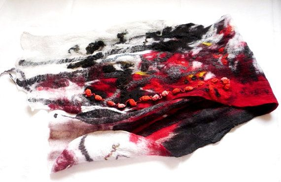 Christmas gift. Nuno felted scarf.Red white black.Silk by coolfelt, $158.00