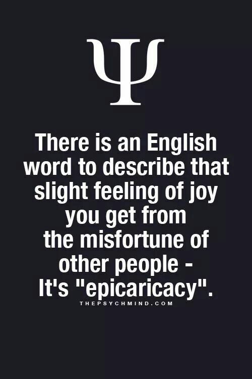 Epicaricacy Feeling of joy from misfortune of others | words
