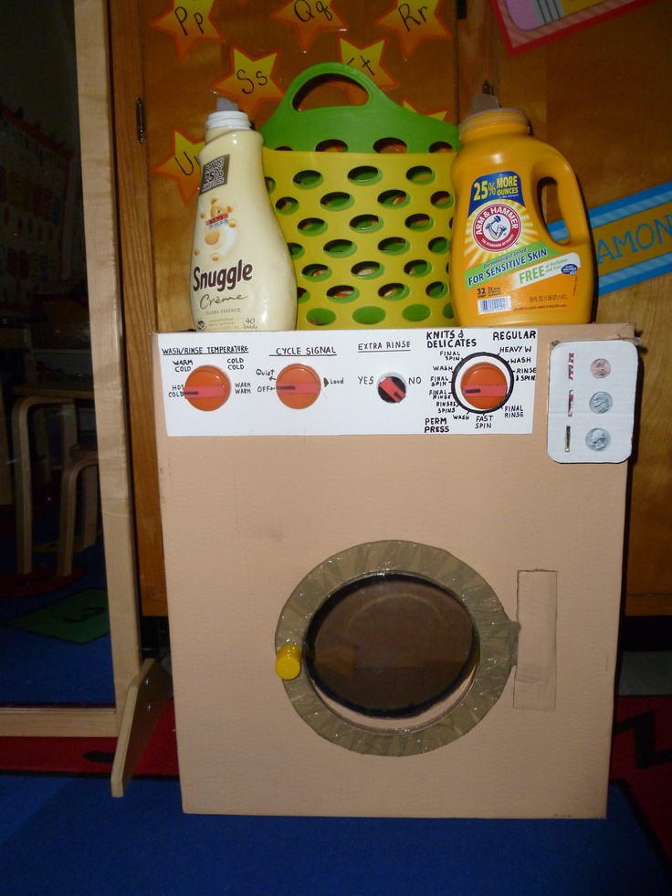 """Laundro mat prop box. After reading """"knuffle Bunny A cautionary tale"""" by Mo Willems children will play doing laundry at the dramatic play area."""