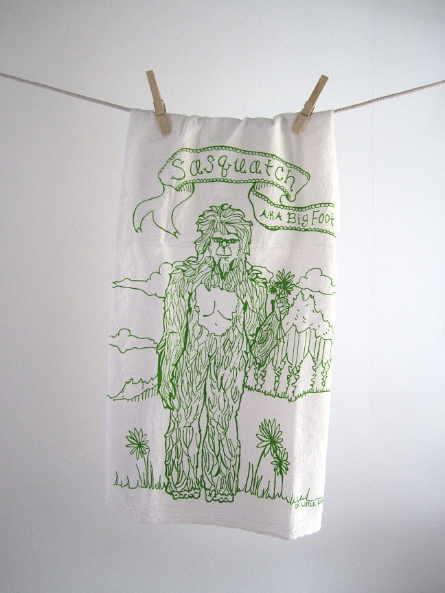 Tea Towel   Screen Printed Organic Cotton Sasquatch Flour Sack Towel    Awesome And Eco Friendly Amazing Pictures
