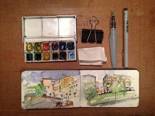 The six tools I take along when I am sketching outdoors.   >   Don't forget the waterbrush. I use Neocolor II - water soluble crayons in my on site sketching.