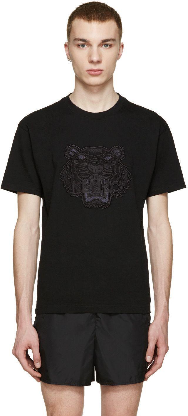 a22b3d09 KENZO Black Embroidered Tiger T-Shirt. #kenzo #cloth #t-shirt ...