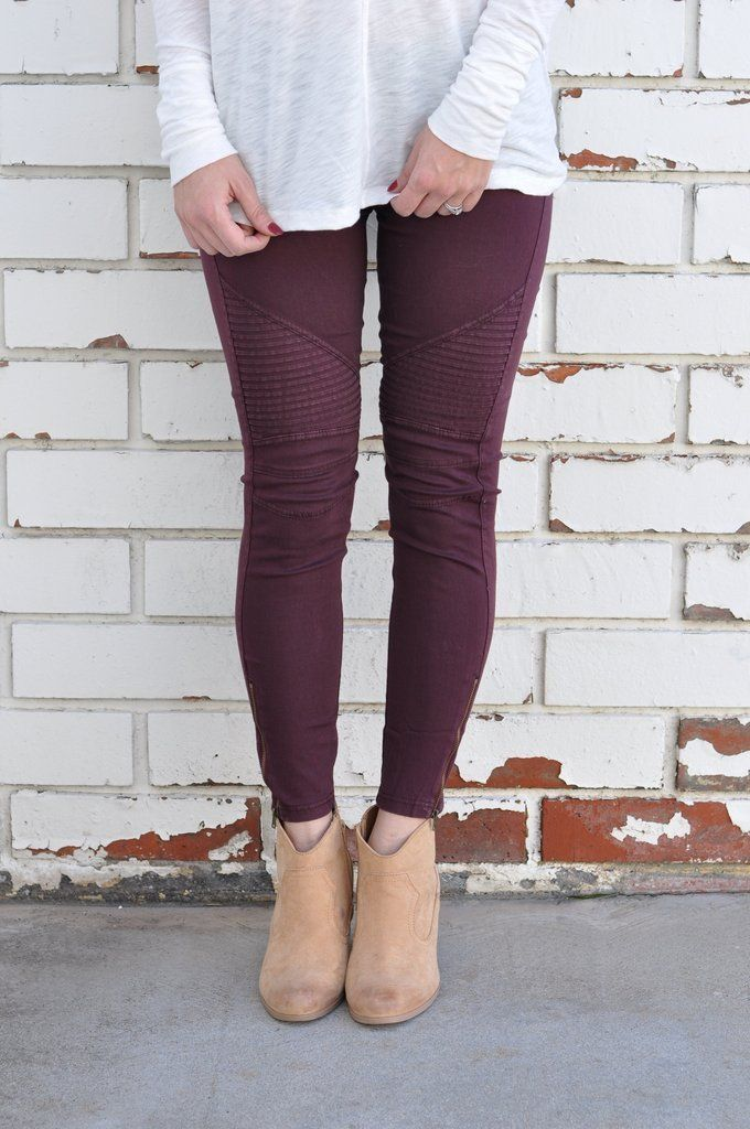 Moto Jeggings - Wine  Moto Leggings for fall! Love these paired with white grey or black top. Available at Unhinged Boutique @unhingedboutik. Jupiter Florida. Free Shipping