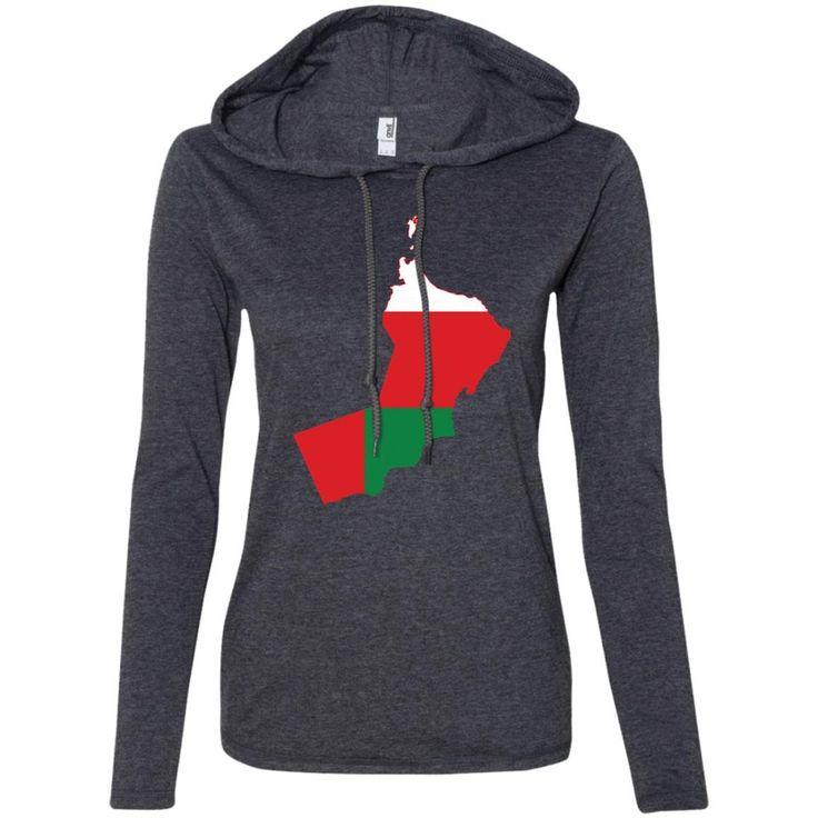 Oman flag -01 887L Anvil Ladies' LS T-Shirt Hoodie