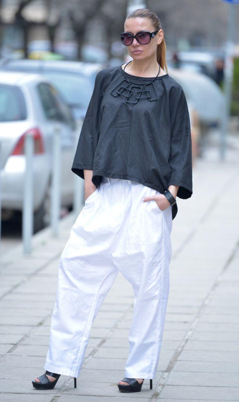White Linen Harem Pants / Extravagant Drop Crotch Pants / White Harem Pant / Maxi Linen Pant by EUGfashion by EUGfashion on Etsy