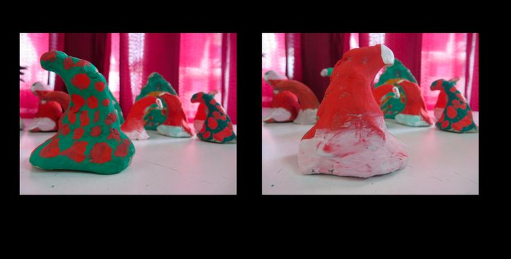 Christmas clay figurines- students molded a piece of clay into a lopsided triangle. When it dried, they painted one side as a Santa hat and the other as a Christmas tree.