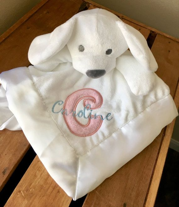 Personalized Baby Security Blanket Lovey White and Pink Baby