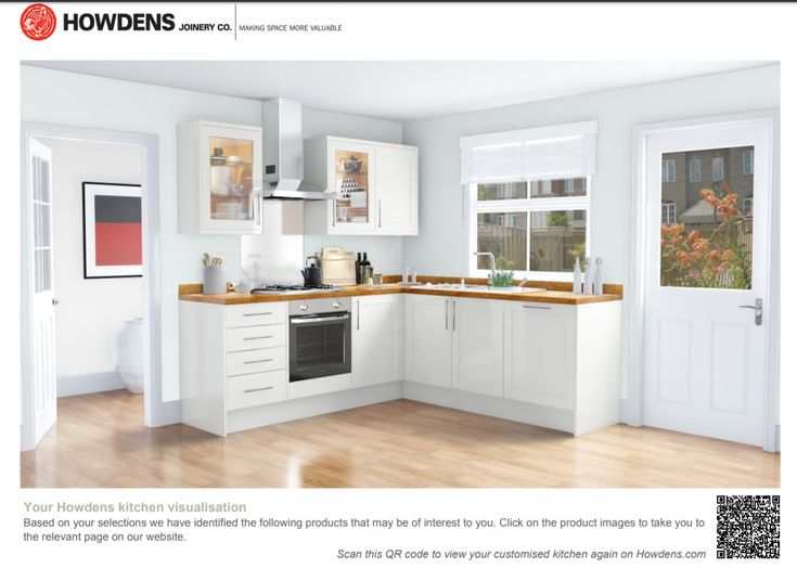 White gloss kitchen with oak worktop and cool blue walls from Howdens visualization tool