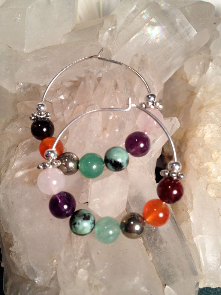 Chakra Balancing Earrings With Sterling Silver and Semi Precious Stones by ArchangelOracle on Etsy