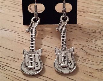 guitar music instrument earrings/necklace silver color with surgical steel hook