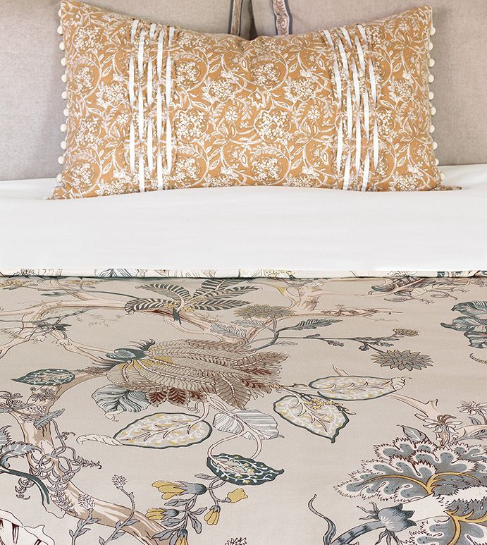 Edith Duvet Cover - floral print duvet cover,large floral duvet cover,floral duvet,flower print duvet,botanical duvet cover,gray floral duvet cover,english countryside duvet,english traditional duvet