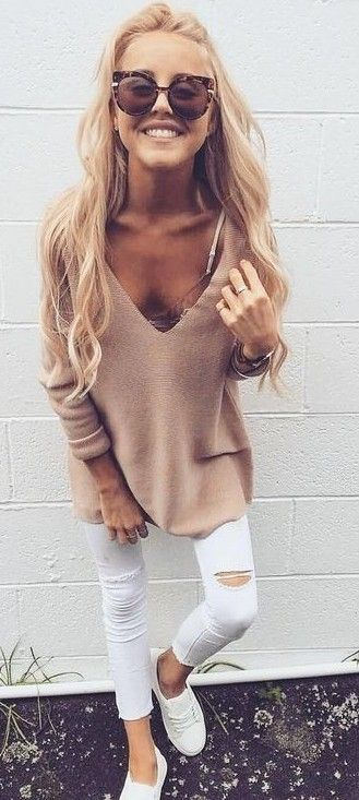 #summer #trendy #outfits | Nude + White