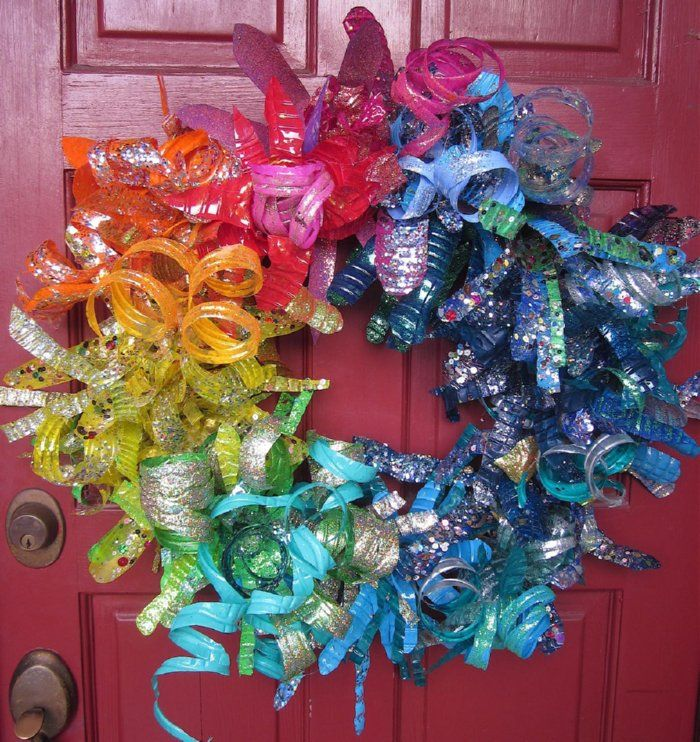 Wreath created from recycled plastic bottles. Website also exhibits jewelry, trees, flowers, and instructions.