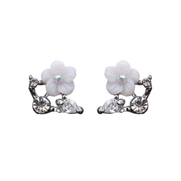 $2.79 Rhinestone Shell Flower Stud Earrings - Silver